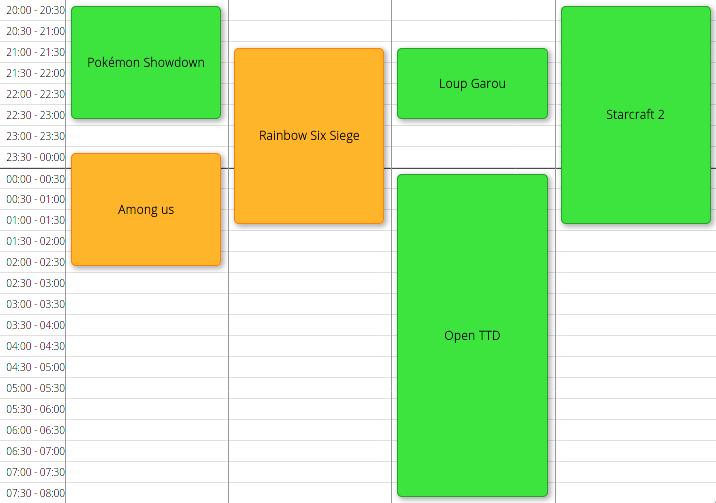 Planning Samedi